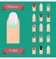 Manicure types Nail design art set vector image