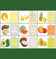 melon and banana watermelon posters set vector image