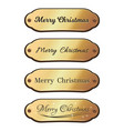 merry christmas gold badge set with lettering vector image