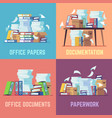 office paper documents routine bureaucracy vector image