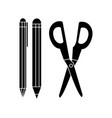 pencil pen and scissor design vector image vector image