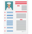 resume of experienced italian chef vector image vector image