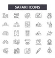 safari line icons signs set outline vector image vector image