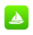 sailing yacht icon digital green vector image vector image