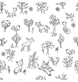 Seamless pattern with trees and animals Black vector image vector image