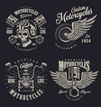 set custom motorcycle emblems vector image vector image