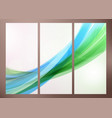Set of abstract green wave backgrounds for poster