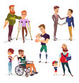 set of cartoon of people with vector image vector image