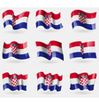 Set of Croatia flags in the air vector image vector image