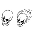 Skull with fire flames vector image