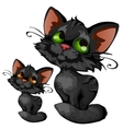 Sly cartoon black kitten animal vector image vector image