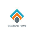 square line construction company logo vector image
