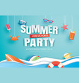 summer party invitation banner with decoration vector image vector image