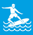 surfer icon white vector image vector image