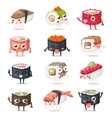 Sushi characters set vector image vector image