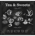 Teapots and cups set blackboard vector image vector image