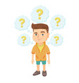 thinking caucasian boy with question marks vector image vector image