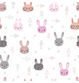 tribal seamless pattern with cartoon rabbits vector image vector image