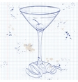 Tuxedo cocktail on a notebook page vector image vector image