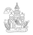 unicorn and princess with castle in the landscape vector image vector image