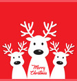 white reindeer on a red background vector image