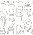 winter or autumn headwear collection pattern vector image