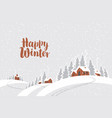 winter rural landscape with snow covered village vector image vector image