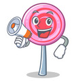 with megaphone cute lollipop character cartoon vector image vector image