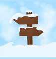 wooden sign blank board and winter snow with copy vector image vector image
