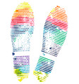 bright rainbow footprint shoe isolated on white vector image