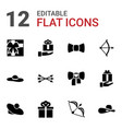 12 bow icons vector image vector image