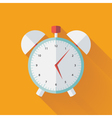 Alarm clock flat icon over yellow vector image vector image