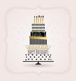 black and golden happy birthday cake card on pink vector image vector image