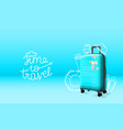 blue plastic suitcase on blue background time to vector image vector image