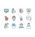 brain health rgb color icons set vector image