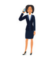 businesswoman calling by mobile phone cartoon flat vector image vector image