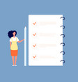 checklist concept businesswoman standing at to do vector image vector image