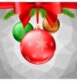 Christmas balls green fir branches bow vector image