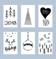 christmas posters set set winter holiday card vector image vector image