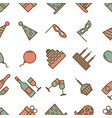 colorful vintage party icons seamless texture on vector image vector image