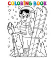 coloring book skiing theme 1 vector image