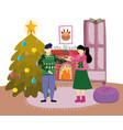 couple with mistletoe chimney tree merry christmas vector image