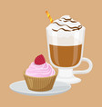 cupcake and cappuccino poster vector image vector image