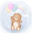 cute little bear flying with balloons vector image vector image