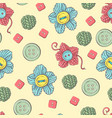 cute seamless pattern balls yarn buttons vector image