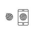 fingerprint icon with mobile phone smartphone vector image vector image