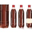 Four plastic bottles of cola with labels vector image
