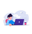 freelancer or office worker sits at a desk with a vector image vector image