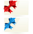 gift cards with bow and ribbon vector image vector image