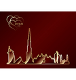 Gold silhouette of Dubai on red background vector image vector image